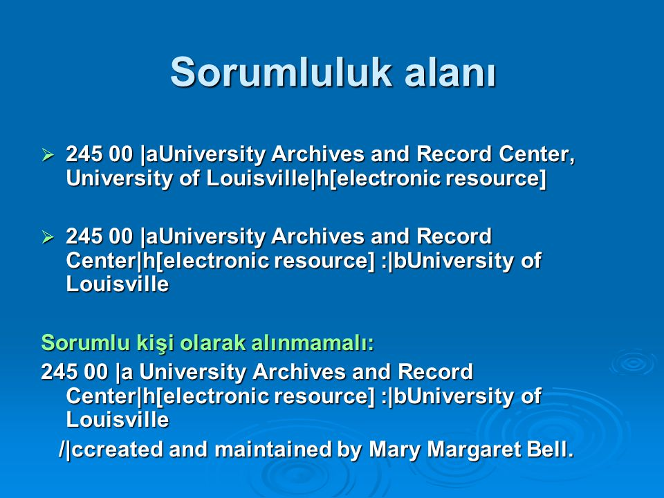 Sorumluluk alanı 245 00 |aUniversity Archives and Record Center, University of Louisville|h[electronic resource]